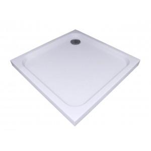 Душевой поддон из литого мрамора Акватек 90*90 квадратный, гладкое дно
